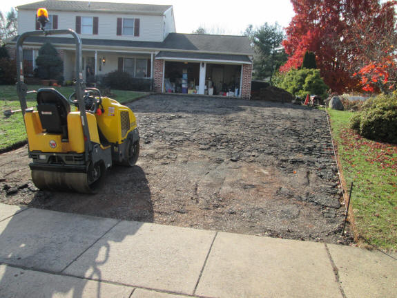 Excavated driveway recycled as sub-base